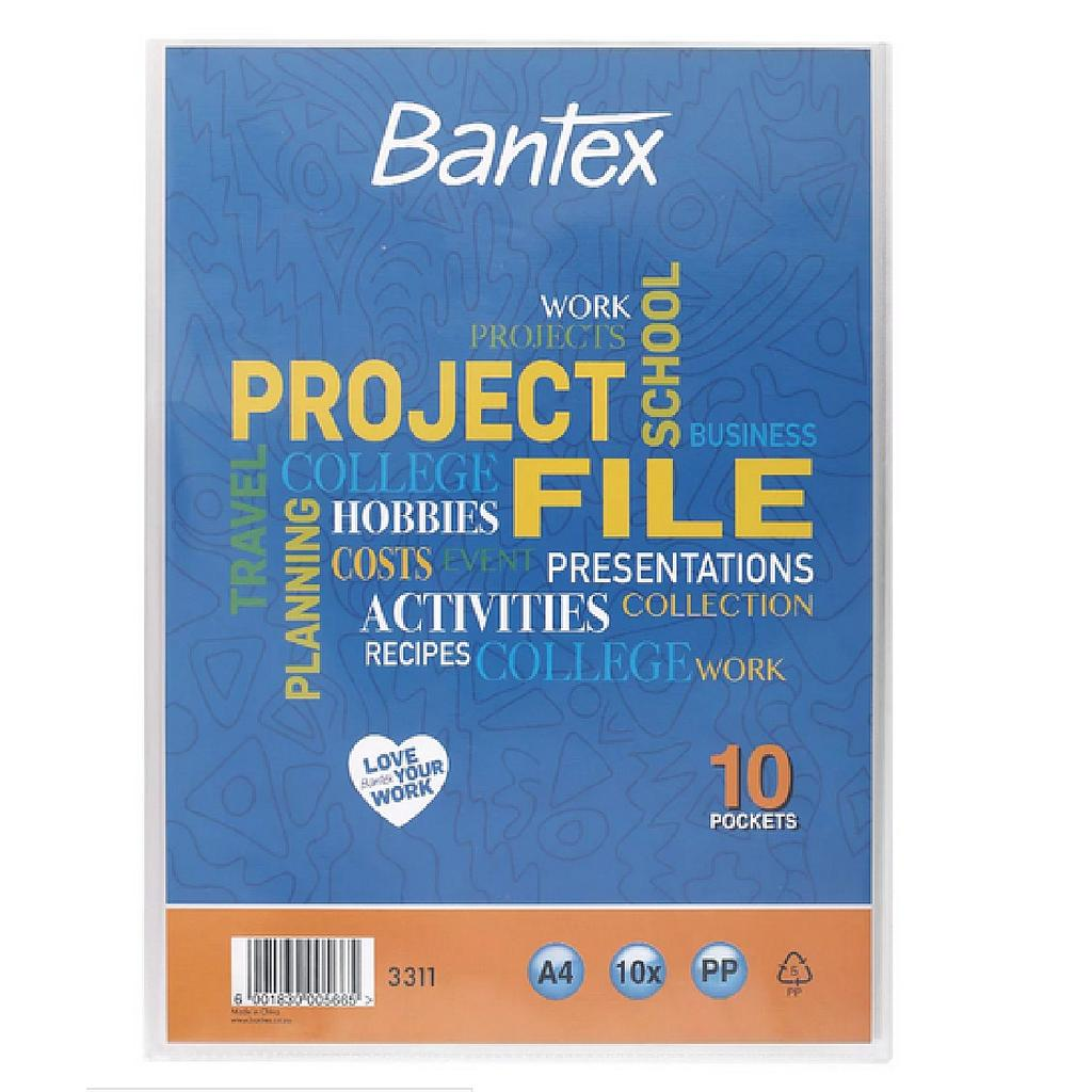 Bantex Project File A4 10PP Pockets Clear With Front Pocket