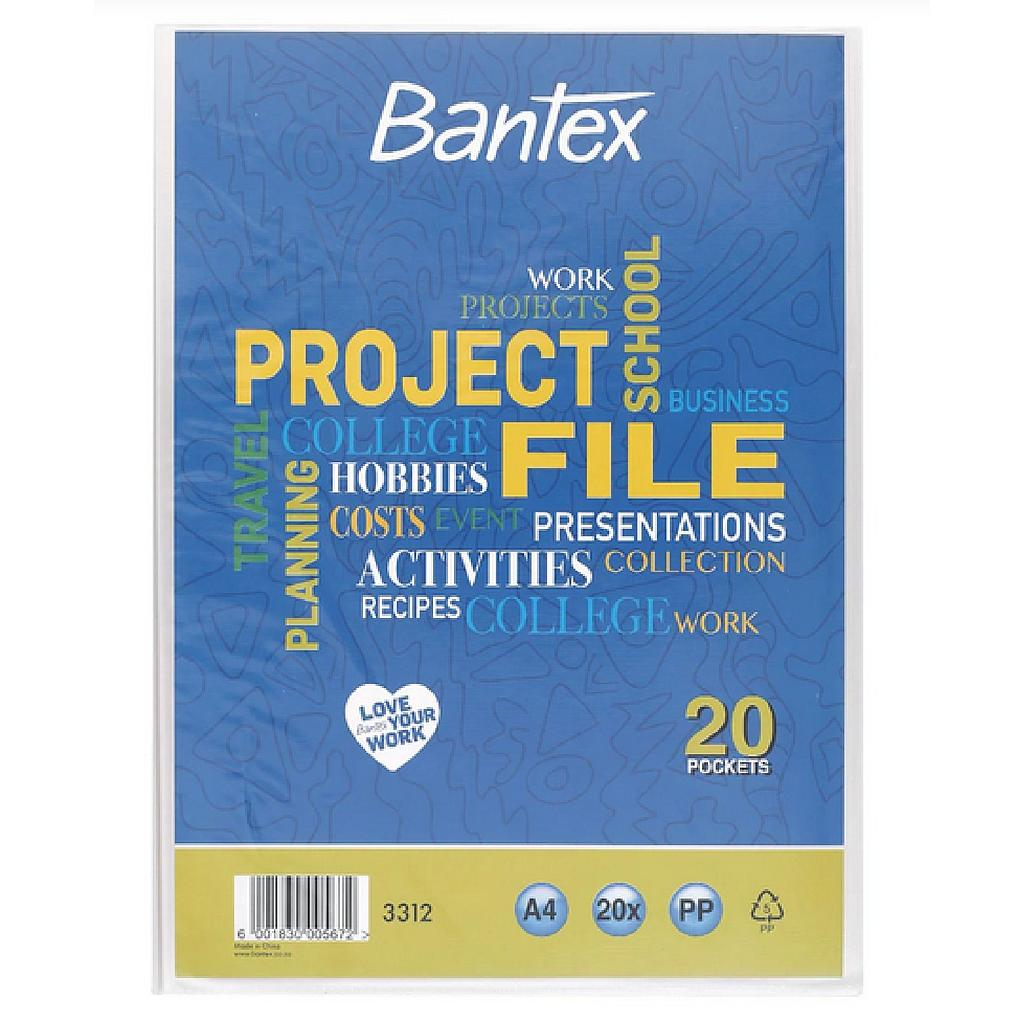 Bantex Project File A4 20PP Pockets Clear With Front Pocket